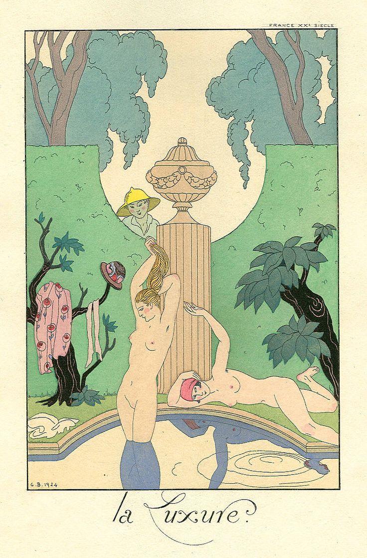Georges Barbier, Les Sept Péchés capitaux, La Luxure, published in Falbalas et Fanfreluches, Almanach des modes 1925