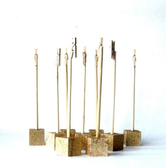 Table number holders (Set of 25) with GLITTER self standing. Wedding mini clothes pin table number holders