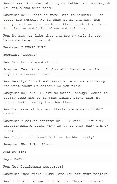 why can't i get enough random Scorose stuff + Ron being eternally dumb Ron, Rose and Scorpius - hp next generation part 2