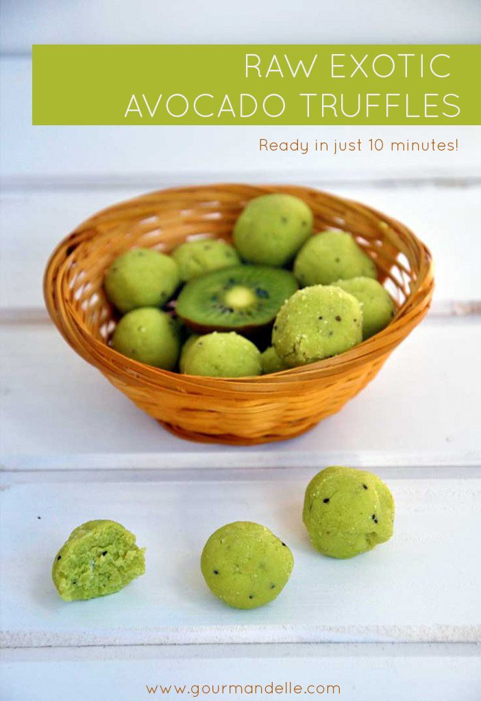 1 ripe avocado 2 kiwis, peeled 6 Tbsps coconut flour; 1 Tbsp coconut oil; 1½ Tbsp stevia powder (or any other healthy sweetener of choice, to taste).