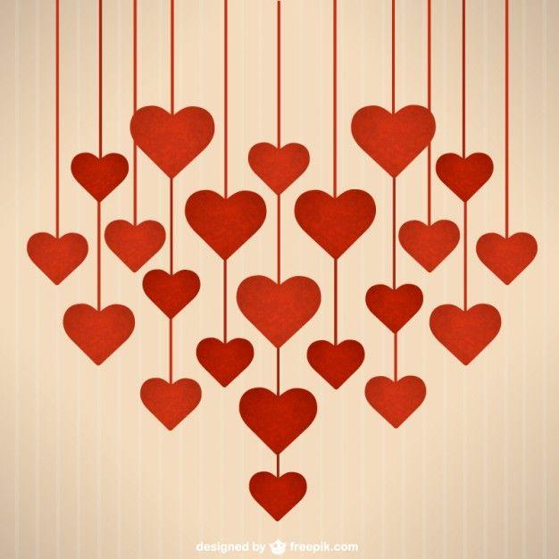 Corazones colgantes de San Valentín Vector Gratis