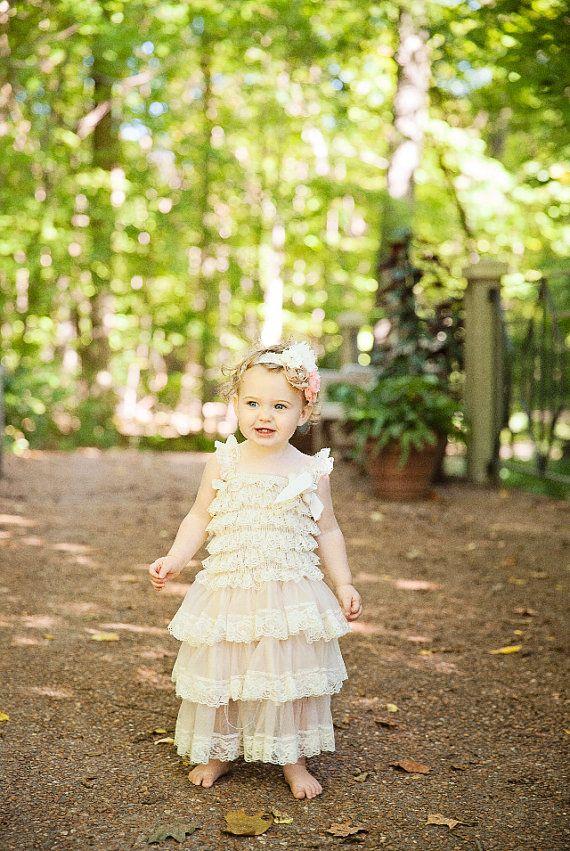 Items similar to Flower Girl Dress - Lace Flower girl dress - Baby Lace Dress - Rustic - Country Flower Girl - Lace Dress - Ivory Lace dress -  Bridesmaid on Etsy