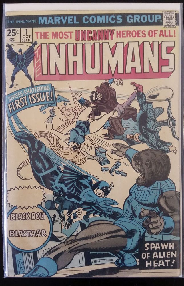 The Inhumans #1 (Oct 1975, Marvel) VG/FN KEY! RARE COVER ERROR George Perez art!