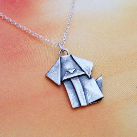Silver Origami Dog Mini Pendant by AllegroArts on Etsy, $25.00