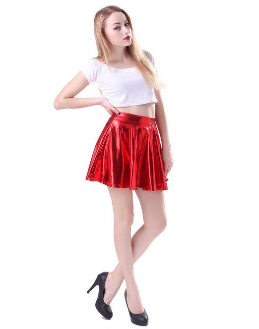 HDE Women's Shiny Liquid Metallic Wet Look Flared Pleated Skater Skirt
