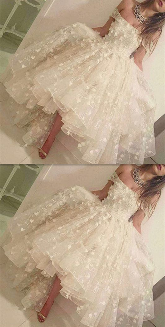 Incredibly High low white prom dress, charming applique Prom Dresses,formal Evening Gown, o…