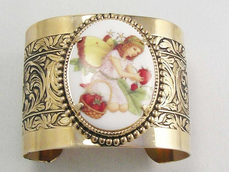 Wide Gold Plate Ornate Floral Repousse Bangle Cuff Butterfly Garden Faerie  RARE #Bangle