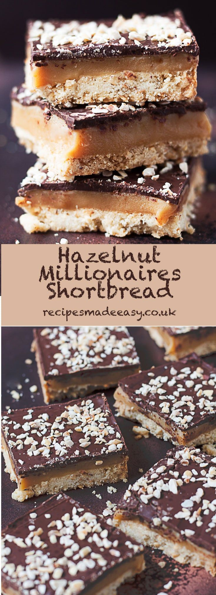 This Hazelnut Millionaires Shortbread has a delicious hazelnut shortbread base covered with a caramel filling enhanced by a good splash of rum and is topped with a layer of chocolate and a sprinkling of hazelnuts. A delicious indulgent caramelly treat fo