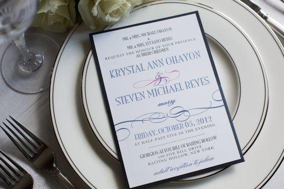 Navy and hot pink wedding invitation, blue pocketfold invitation, swirl invitation, custom colors, custom sample on Etsy, $5.00