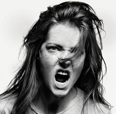 Image: Girl making angry face