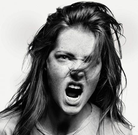 Powerful expression, intense, anger, portrait, photo b/w.