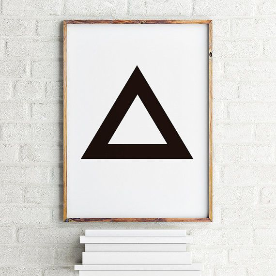 Geometric art print poster Black Triangle / Printable Digital Art / Scandinavian art / Nordic Art / Wall Decor / digital print illustration