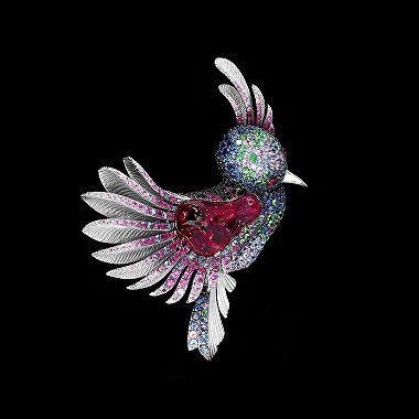 Brooch Colibri - White gold 750, tourmaline rubellite 24.94 ct., Pink Tourmaline, Sapphires, rubies, diamonds, tsavorites