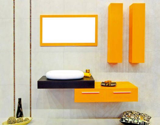 Classy Small Bathroom With Yellow Fantastic Design