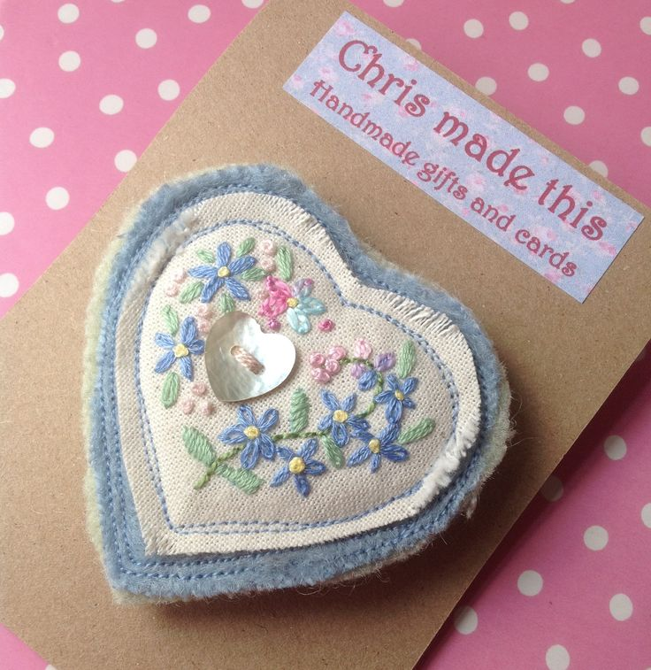 Embroidered Forget-me-not brooch, from my own design.