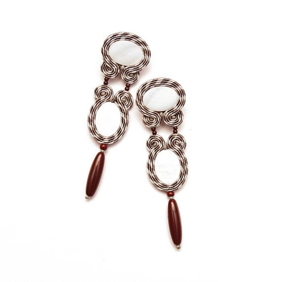 Bohemian earrings large and long. Statement earrings for boho girls. Soutache and bead embroidery jewellery maroon burgundy gray white.
