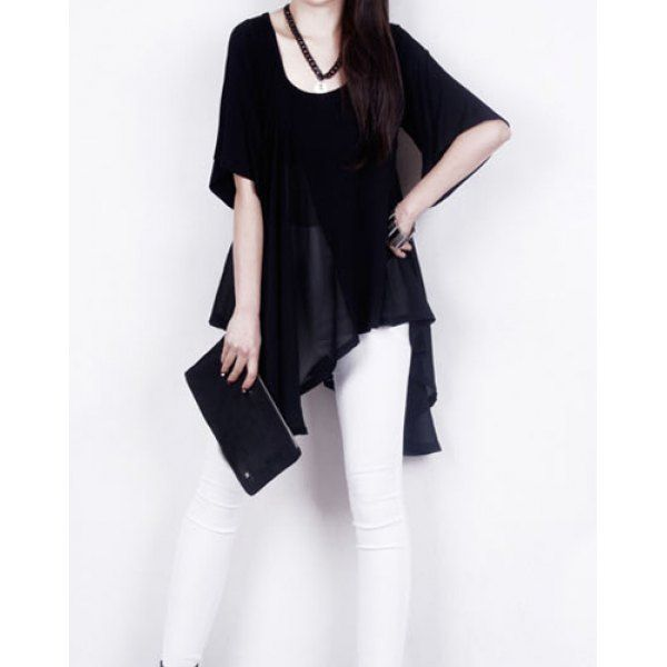 Fashionable Style Scoop Neck Flare Sleeve Solid Color Ruffle Irregular Design Blouse For Women