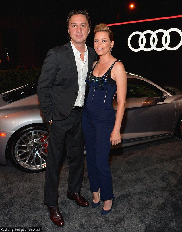 Reunited: Banks, 42, happily posed for photos with her former Scrubs co-star Zach Braff, 41, who was dapper in a black suit and white open-necked shirt