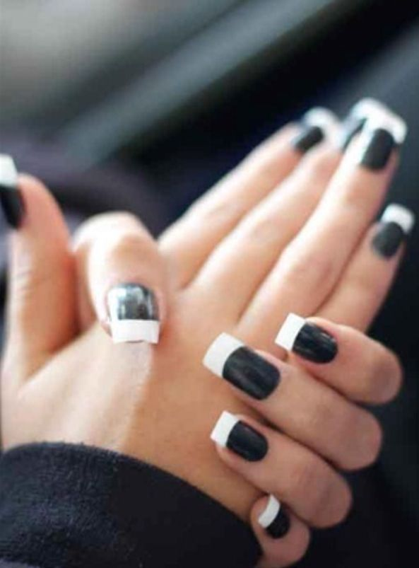 black and white french manicure nails nails pinterest