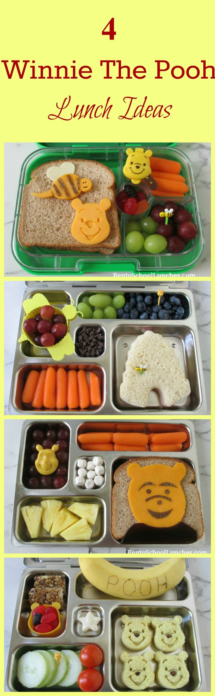 4 Winnie The Pooh Lunch Ideas. Fun lunches for kids.
