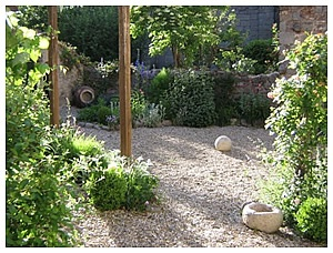 Get rid of all turf - use pea gravel and flagstones