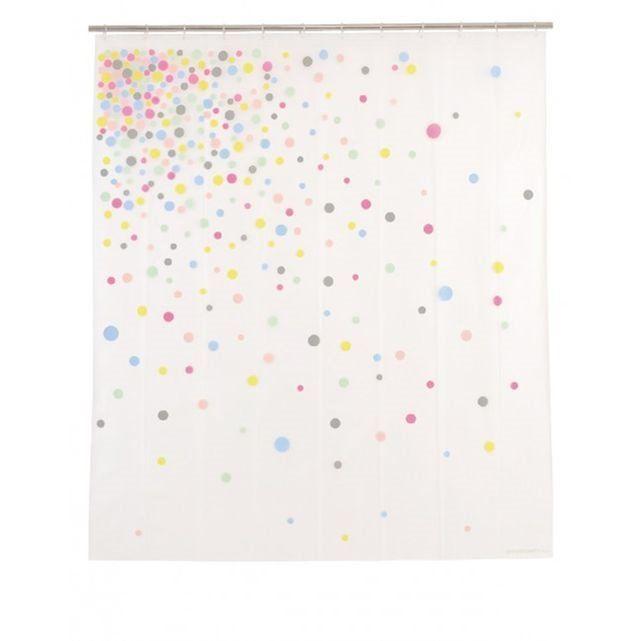 Rideau de Douche Design à Pois Multicolore 'Confetti' - 180 x200cm WADIGA : prix, avis & notation, livraison.  Rideau de douche très déco avec ses pois de plusieurs couleurs pastel. Ce rideau de douche apporte une touche de fraîcheur et de jeunesse à votre salle de bain. Ce rideau de douche très design convient pour tous les types de salle de bain et apporte une image chaleureuse et déco. Ce rideau de douche nécessite 12 anneaux. Dimensions: Long. 180cm x Haut. 200cmCouleur: Multicolore…