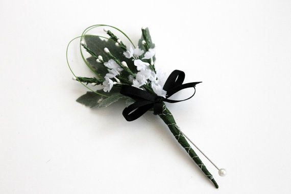 White heather gents buttonhole, Wedding buttonhole, boutonniere, groom, usher, best man, gents flower, white heather, lapel flower, prom