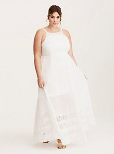 Special Occasion Lace Inset High Neck Maxi Dress