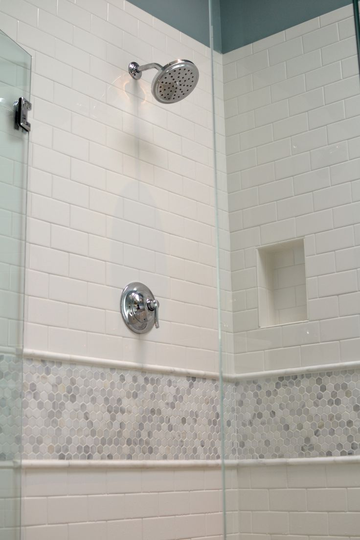 Master Bathroom Renovation White subway tile with cararra