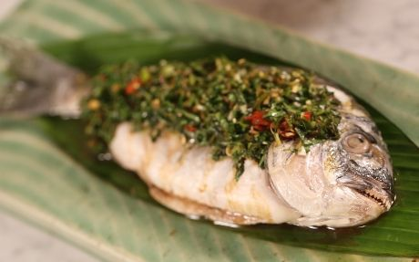 Steamed Sea Bream with Vietnamese Mint and Coriander Salsa Verde Recipe by Ching-He Huang
