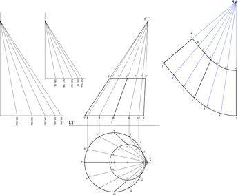 Tronc cone oblique geometrie descriptive solution - Traçage en chaudronnerie et tuyauterie/Raccordement de deux sections — Wikilivres