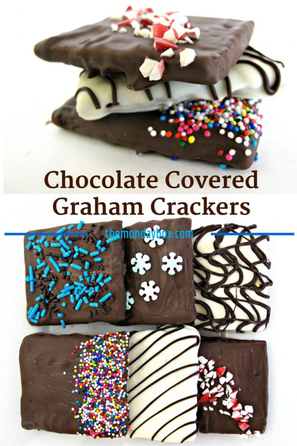 Chocolate Covered Graham Crackers- Easily make your own chocolate dipped treats. Delicious homemade gifts! | The Monday Box