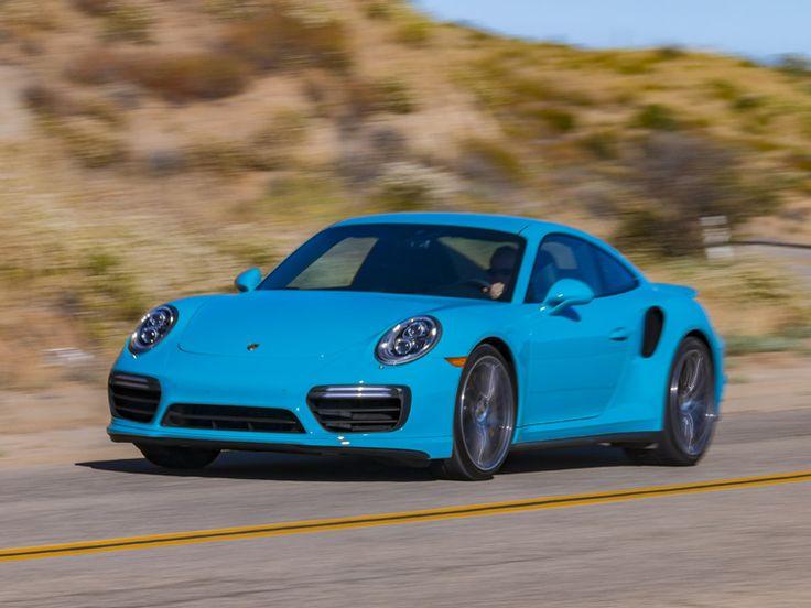 2017 Porsche Turbo S Driving Miami Blue