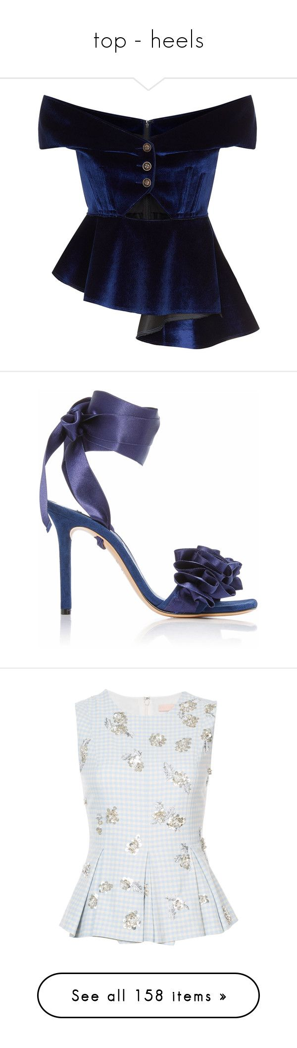 """""""top - heels"""" by saltless ❤ liked on Polyvore featuring shoes, sandals, navy, casadei, navy sandals, navy satin shoes, casadei shoes, navy blue satin shoes, tops and blue"""