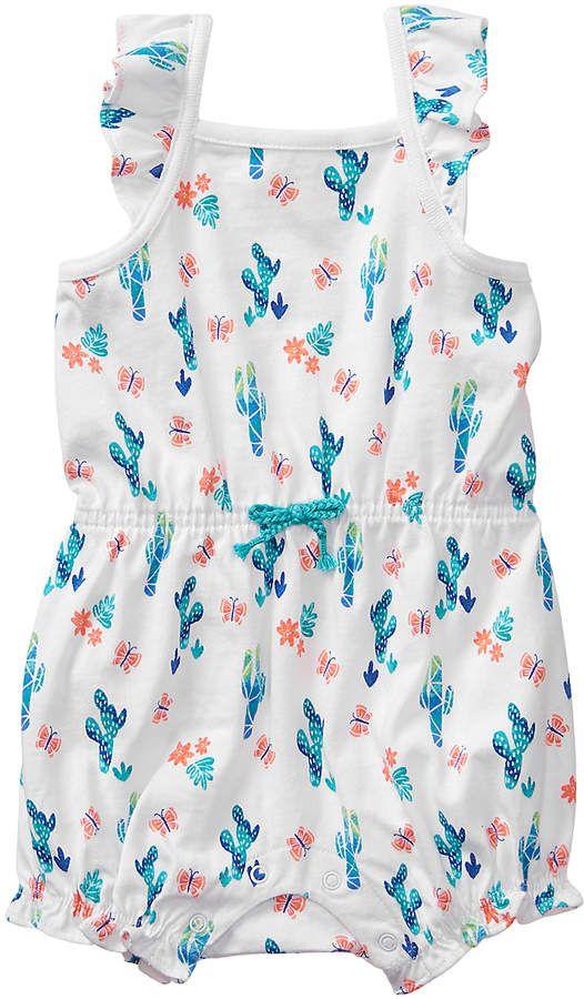 f49209b7beb1 Gymboree Turquoise Cactus   White Cactus Romper - Newborn   Infant  babygirl