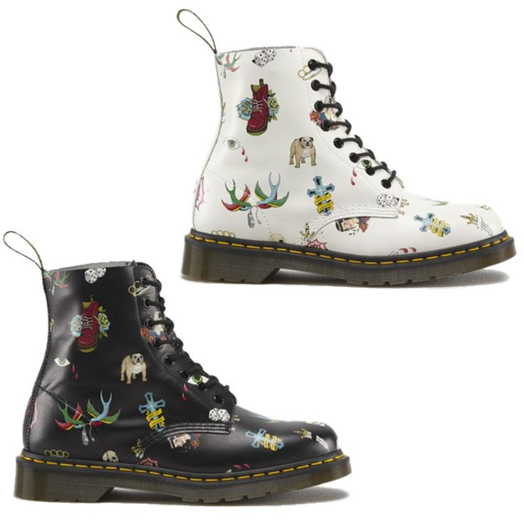 New Dr Martens 1460 Pascal Tattoo Womens Black White Ankle Boots Size UK 4-7 in Kleidung & Accessoires, Damenschuhe, Stiefel & Stiefeletten | eBay