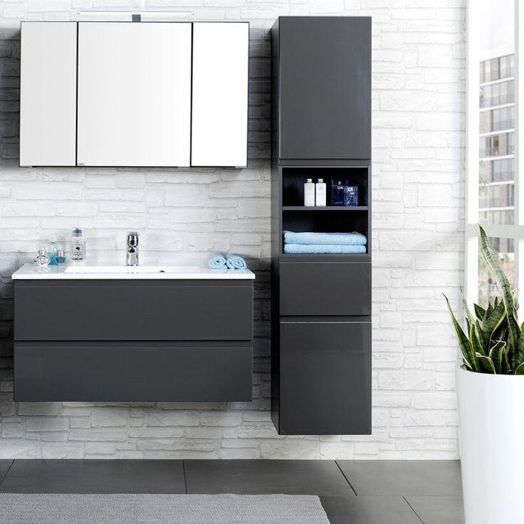 Komplett Badezimmermöbel Set 100cm Waschtisch Spiegelschrank Badmöbel Waschplatz in Möbel & Wohnen, Möbel, Badmöbelsets | eBay!