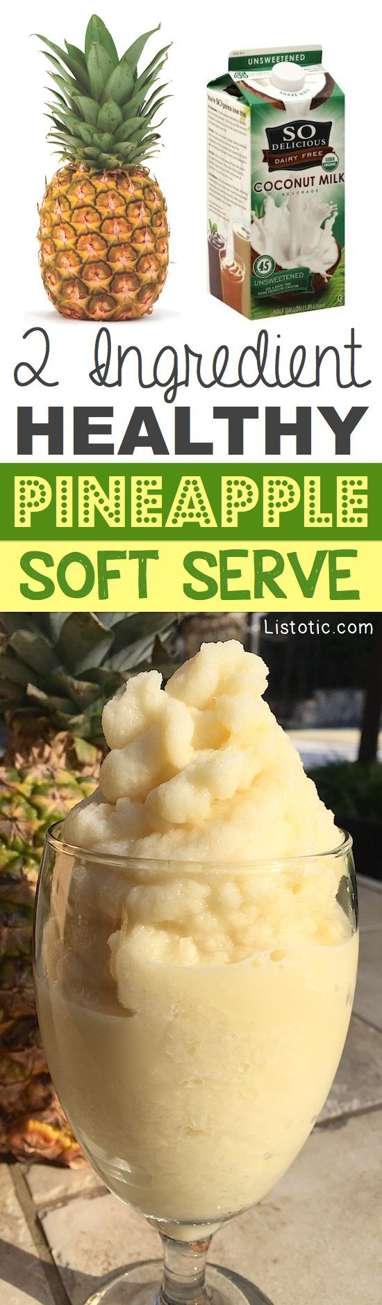 A 2 Ingredient, healthy pineapple soft serve like treat! This healthy snack recipe is similar to a smoothie but thicker and creamier. The perfect guilt-free, dairy-free dessert! | Listotic.com