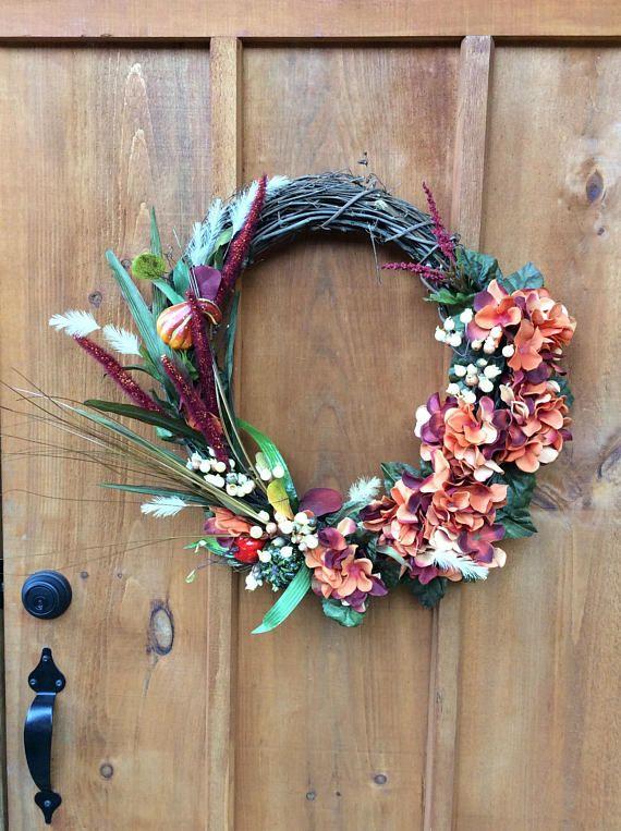 Hydrangea Wreath, Front Door Wreath, Front Door Decor, All Season Wreath, Housewarming, Fall Wreath, Autumn Wreath, Made In Canada