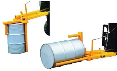 Economy Drum Positioner  Drum Positioner is a unique design to manipulate drums without leaving fork truck seat.  Designed to lift 55-gallon steel and plastic drums from horizontal to the vertical position and vise verse using completely mechanical operation. Ideal for use with drum stands, pallets and racking. Suitable for loading drums into vehicles. Hinged tines lock automatically when lowered to ground in horizontal position.