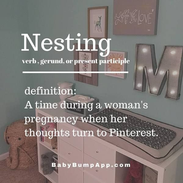 Nesting: A time during a woman's pregnancy when her thoughts turn to Pinterest…