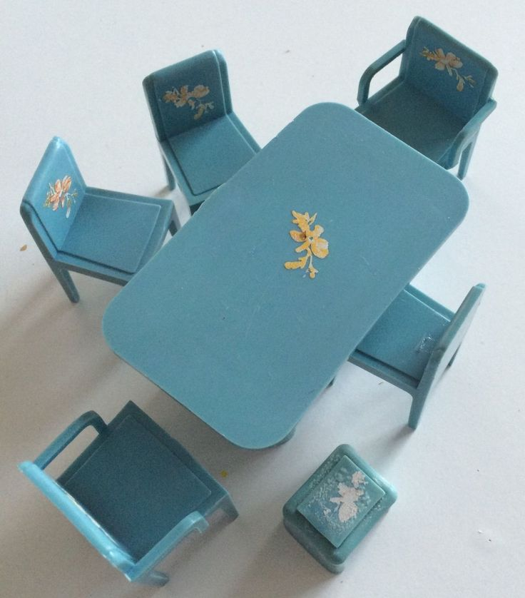 Vintage Blue Plastic Dolls House Furniture - Table, Chairs And Footstool | eBay