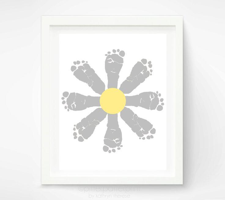 Daisy Baby Footprint Art - Yellow and Gray Nursery Art - Baby Girl Nursery Art Print - Flower Kids Wall Art -  Personalized Girls Room Ideas. $30.00, via Etsy.