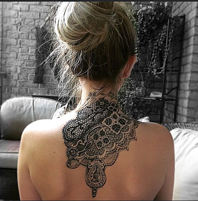 Back tattoo neck design coverup black and white lace for White lace tattoo