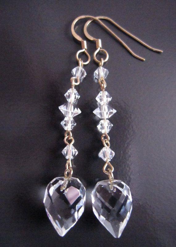 Long Golden Art Deco Crystal Earrings OOAK Vintage Inspired