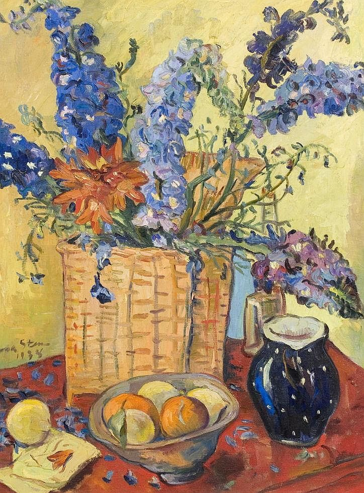 H4145-L20851134.jpg (724×979) Irma Stern SOUTH AFRICAN 1894-1966 Still Life of Delphiniums signed and dated 1938 oil on canvas laid down on board 99 by 73,5cm