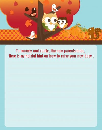 Owl   Fall Theme Or Halloween   Baby Shower Notes Of Advice