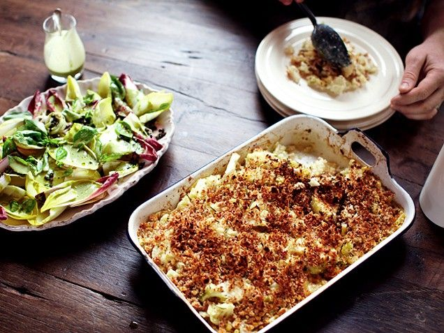 Cauliflower Macaroni, Belgian Endive Salad with Insane Dressing and Lovely Stewed Fruit