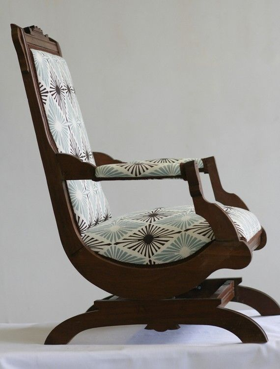 I love this rocking chair. My mom has an old victorian rocking chair that supposedly came across on the mayflower and this totally reminds me of it and I want it.