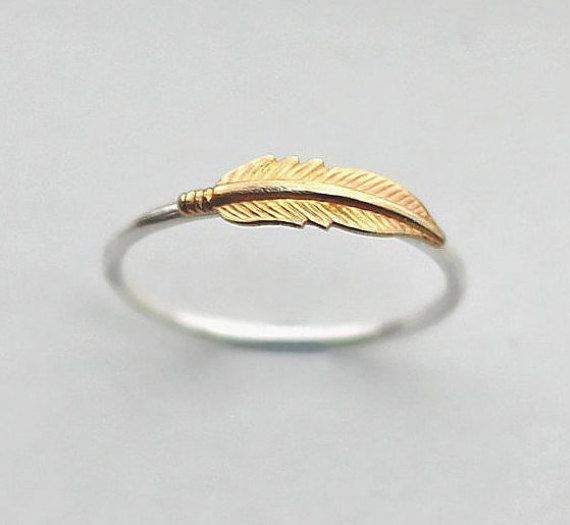Gold & Silver Feather Ring